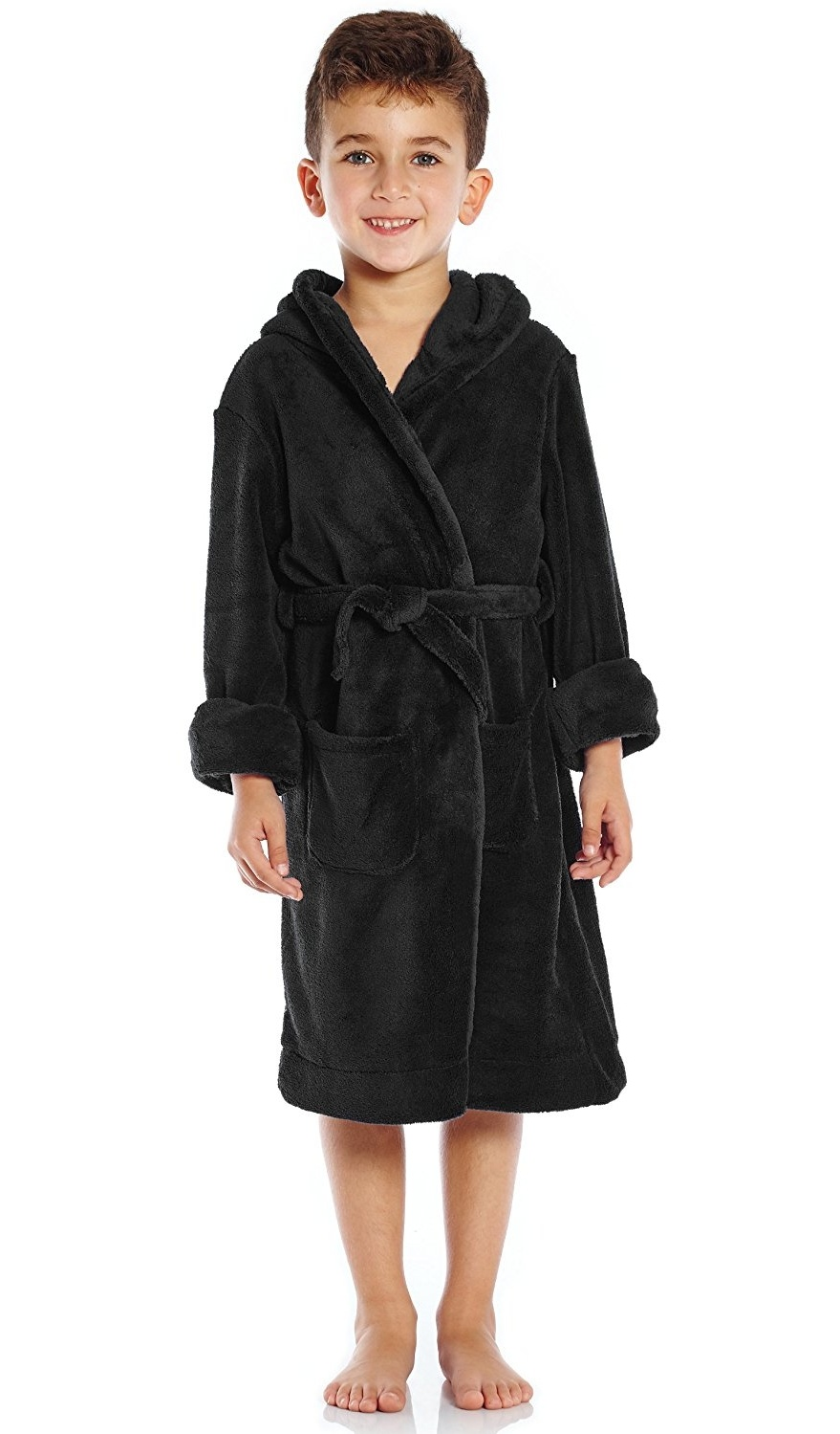 Leveret Kids Robe Boys Girls Solid Hooded Fleece Sleep Robe Bathrobe 2 Toddler-16 Years Variety of Colors