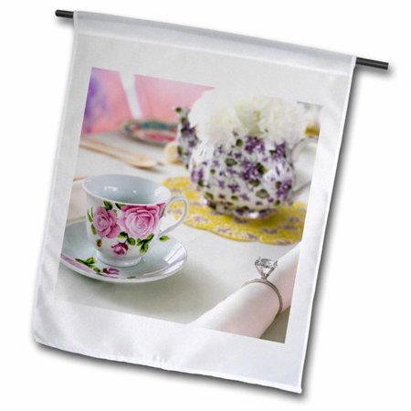 3dRose Table Setting for a Tea Party Polyester Garden Flag - Tea Party Table Setting