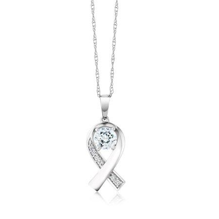 0.59 Ct Round Sky Blue Aquamarine G/H Lab Grown Diamond 10K White Gold Ribbon - Diamond Ribbon Cross Necklace