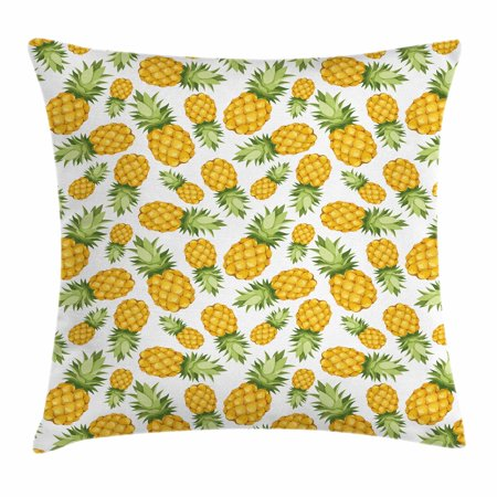 Yellow and White Throw Pillow Cushion Cover, Pineapples Tropical Climate Fruits Sweet Ripe Juicy Food, Decorative Square Accent Pillow Case, 18 X 18 Inches, Earth Yellow Green White, by Ambesonne (Decorative Pineapple)
