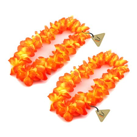 Orange Hawaiian Ruffled Simulated Silk Flower Luau Leis Necklace Accessories for Island Beach Theme Party Costumes, 2 Count - Hawaiin Leis