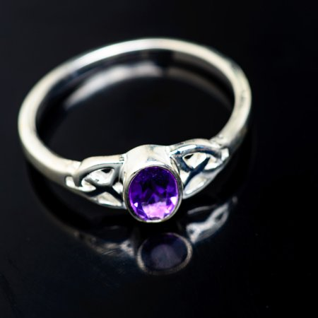 Faceted Amethyst Ring Size 8.25 (925 Sterling Silver)  - Handmade Boho Vintage Jewelry RING947133 ()
