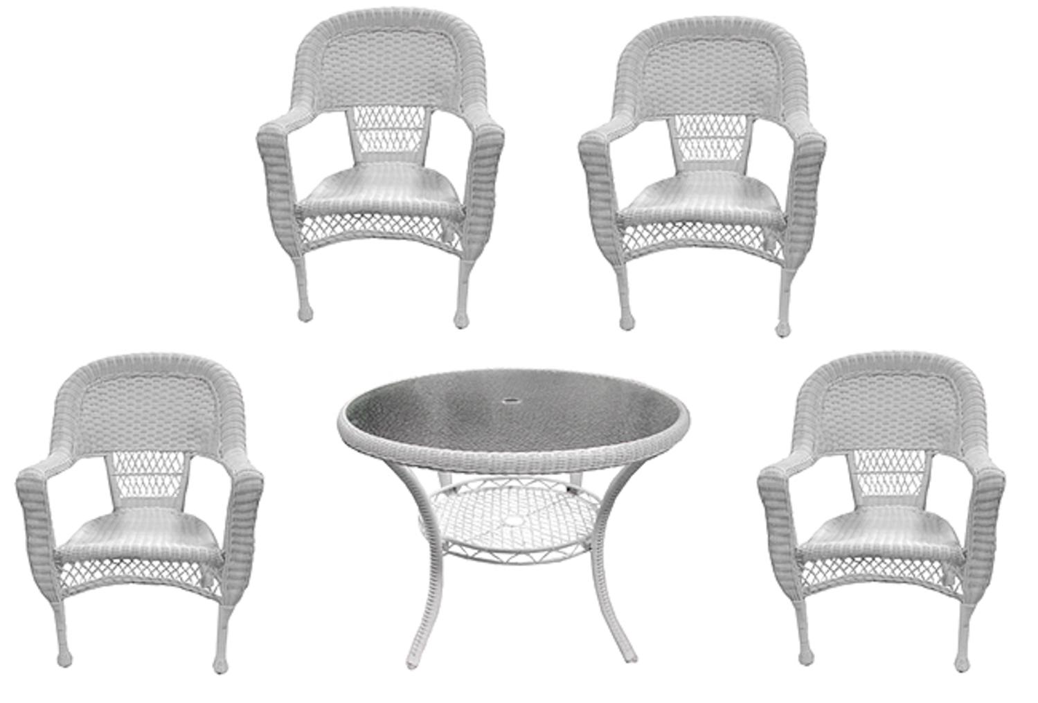 5-Piece White Resin Wicker Patio Dining Room Set Table and 4 Chairs by LB International