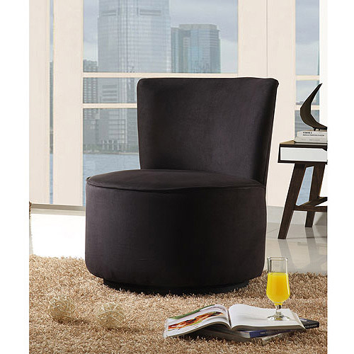 Merveilleux Round Microfiber Swivel Accent Chair, Mu