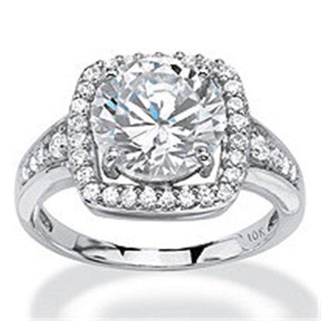 Palmbeach Jewelry 552018 10K White Gold 3 32 Twc Round Cubic Zirconia Halo Ring Set   8