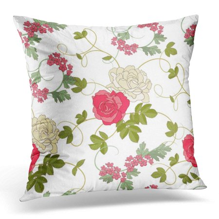Arhome Pink Floral Roses On White Green Flower Pillow Case Pillow