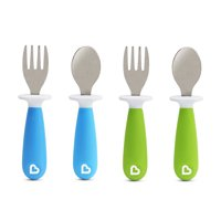 Munchkin Raise Toddler Fork and Spoon, 4 Pack, Blue/Green, 12+ months