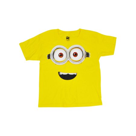 Youth Boys Minions Face T-Shirt Yellow Short Sleeve](Purple Minion Shirt)