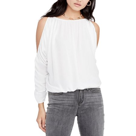 RACHEL ROY Womens White Cold Shoulder Long Sleeve Jewel Neck Top  Size: M