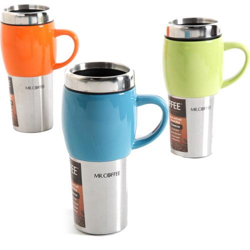 Mr. Coffee Traverse 16 oz Travel Mugs with Lids, Set of 3