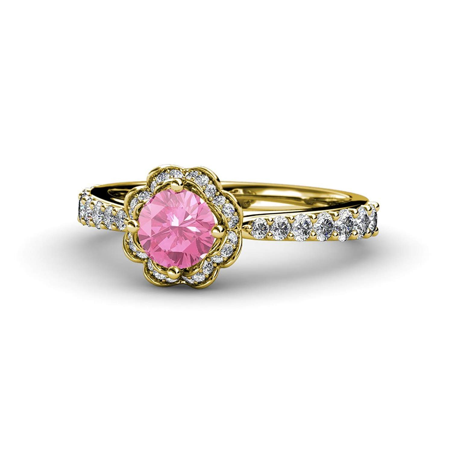 Pink Tourmaline & Diamond (SI2-I1, G-H) Floral Halo Engagement Ring 1.38 cttw in 14K Yellow Gold.size 8.0 by TriJewels