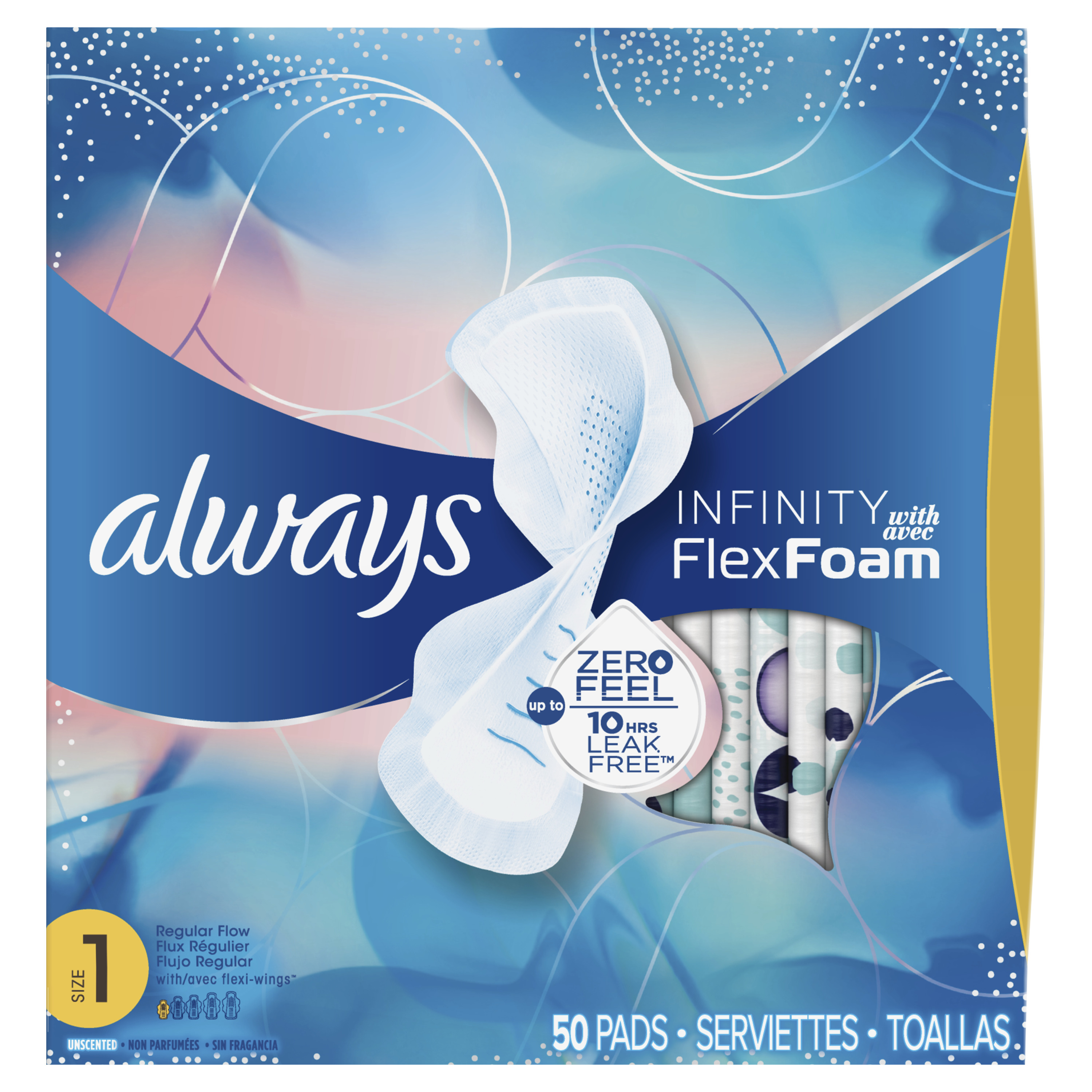 Always Infinity Pads with Wings, Unscented, Size 1 (Choose Your Count)