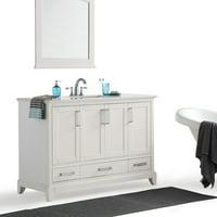 "Simpli Home Elise 48"" Bath Vanity with Bombay White Quartz Marble Top"