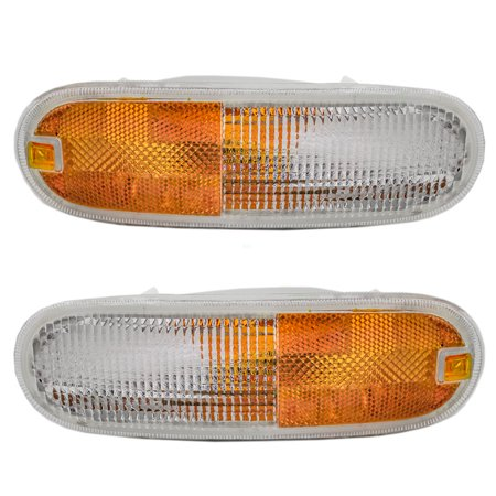 Driver and Passenger Park Signal Front Marker Lights Lamps Lenses Replacement for Volkswagen New Beetle 1C0953155L 1C0953156L