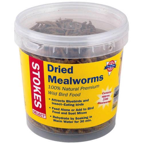 Stokes Select Dried Mealworms, 100 Percent Natural Premium Wild Bird Food, 3.5 oz Tub