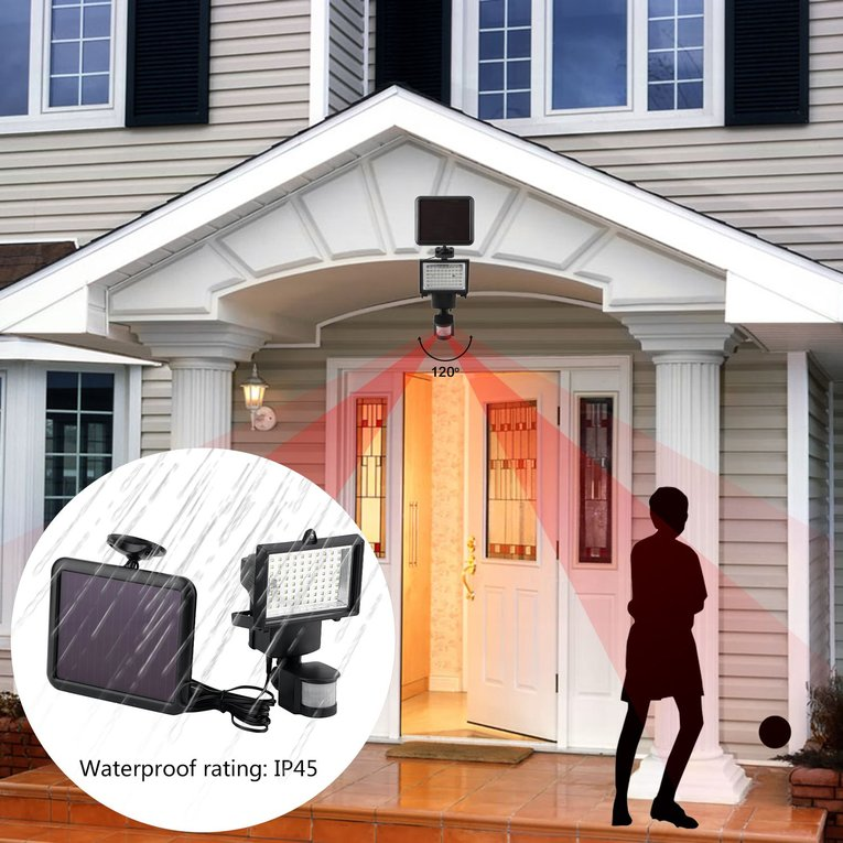 Solar Light Solar Powered Security Light With Motion Sensor 80 LED Waterproof Flood Light