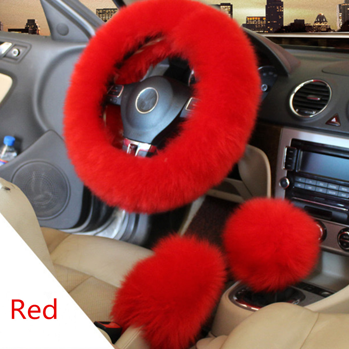 3Pcs Winter Furry Car Steering Wheel + Gear Knob Shifter Parking Brake Cover Set