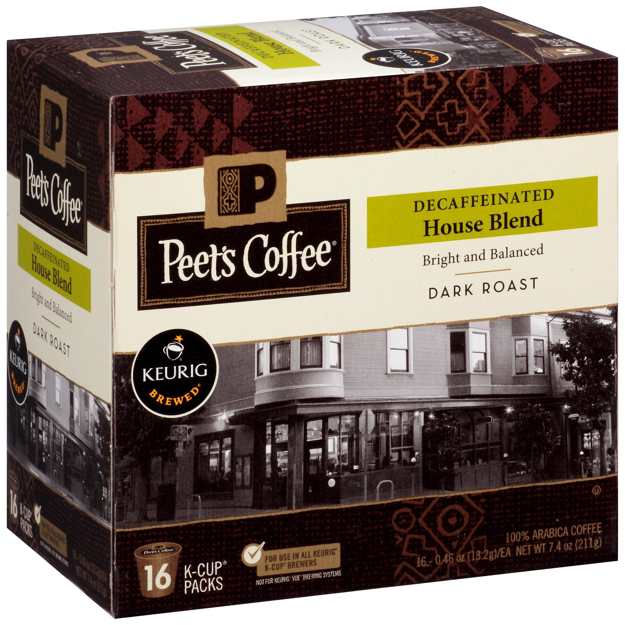 Peet's Coffee Decaffeinated House Blend Dark Roast Coffee Pods, 16 pods