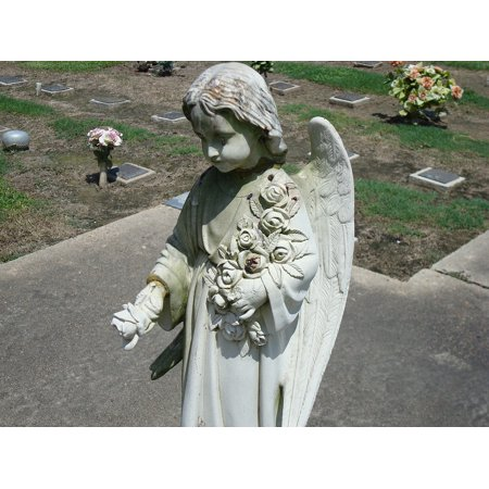 Monument Headstone - LAMINATED POSTER Statue Cemetery Sad Angel Headstone Monument Poster Print 24 x 36