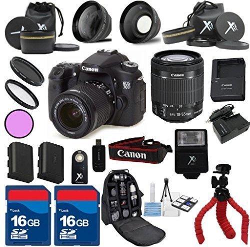 Canon 70D Camera Body w/ 18-55mm IS STM Lens + 24pc Kit -...