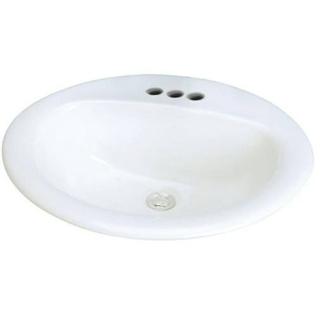 White Century Vitreous China Lavatory (Transolid Self-Rimming Drop-In 4