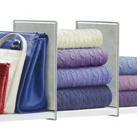 Lynk Vela Shelf Dividers - Closet Shelf Organizer (Set of 2) - Platinum