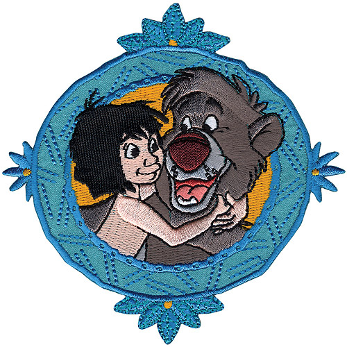 Disney Jungle Book, Mowgli with Baloo Framed Iron-On Applique