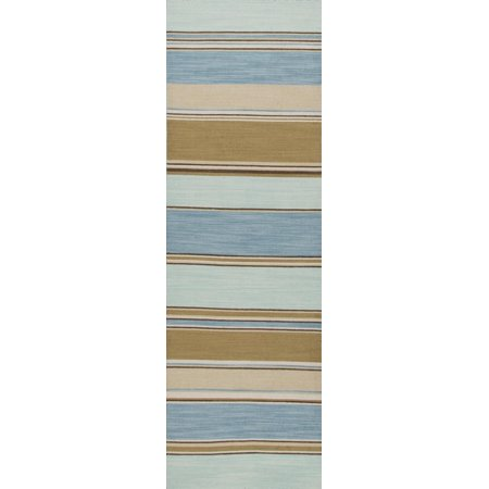 10 X 14 Sandy Tan And Ocean Blue Striped Captiva Flat Weave Wool Area Throw Rug