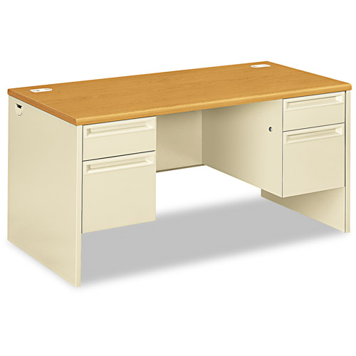 Hon 38000 Series Double Pedestal Desk, Harvest/Putty