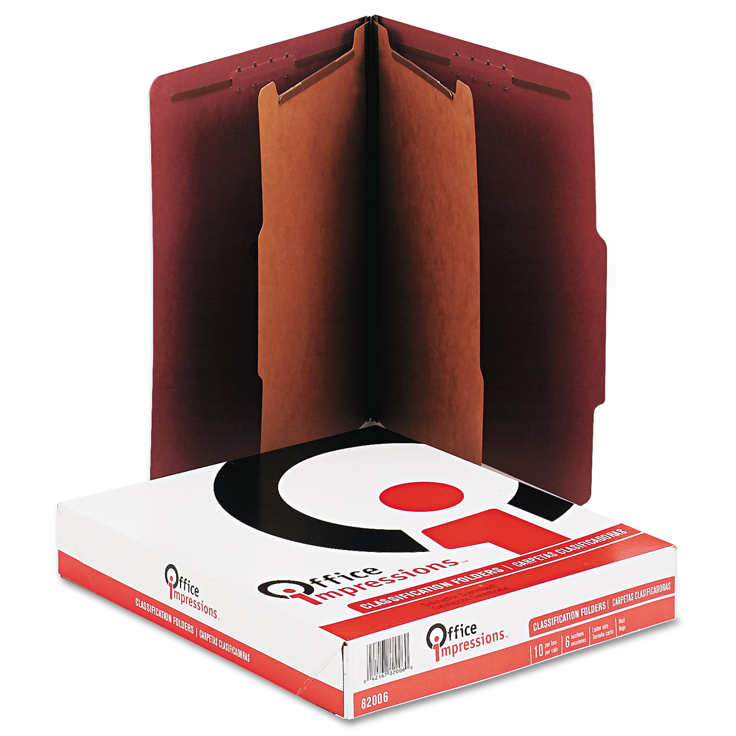 Office Impressions Pressboard Classification Folder, Letter, Six-Section, Red, 10/Box -OFF82006
