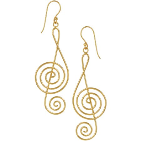 Pure 100 Gold Tone Music Note Dangle Earrings Gold tone Gold Music Note