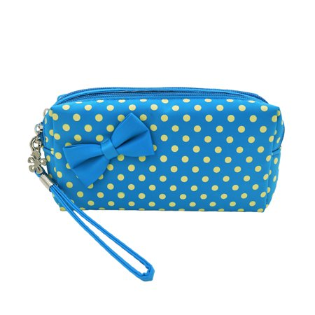 Premium Small Polka Dot Bow Double Zip Wristlet Cosmetic Makeup Bag ()
