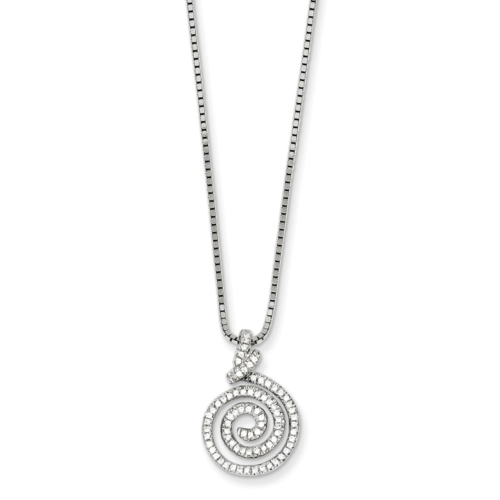 Sterling Silver 18in & CZ Swirl Necklace