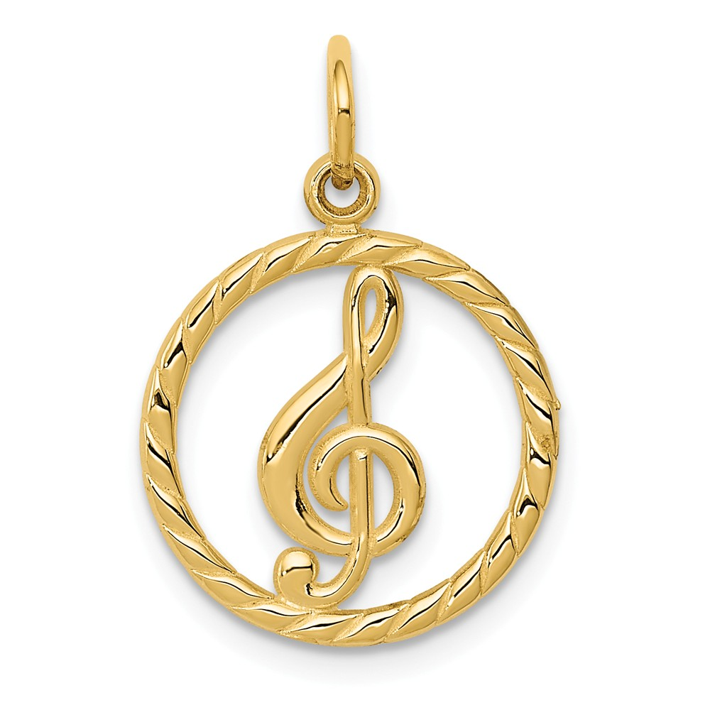 14k Yellow Gold Musical Series Treble Clef Pendant