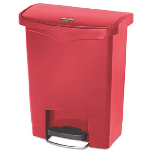 Rubbermaid Slim Jim 8 Gallon Step-On Trash Can, Red (RCP1883564)