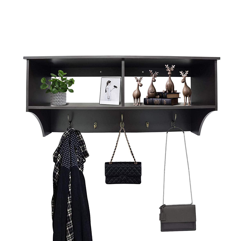 """ORNO TTOBE Espresso 36"""" Wide Hanging Entryway Shelf Wall"""