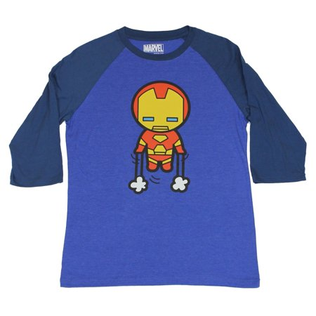 Iron Man 3/4 Sleeves Mens T-Shirt -  Big Head Cuie Jet Boost Image](Foam Iron Man Suit For Sale)