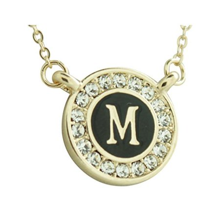 Maren Elena Gold Tone Alphabet Initial Pendant with Genuine Crystal (Letter - Gold Tone Genuine Crystal