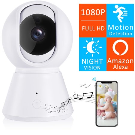[New 2019] FullHD 1080p WiFi Home Security Camera Pan/Tilt/Zoom - YI IOT App, Work with Alexa - Wireless IP Indoor Surveillance System - Night Vision, Remote Baby Monitor iOS (White) (Security System With App)