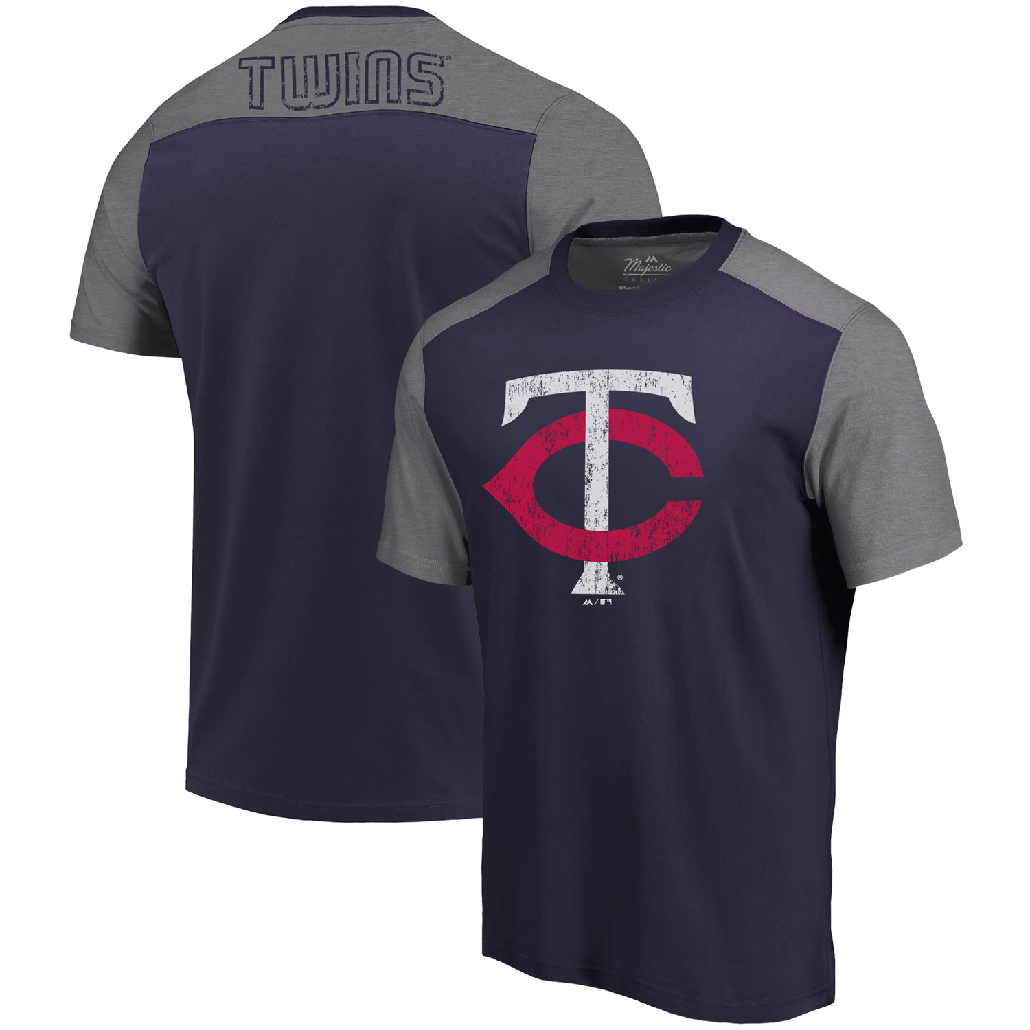 Minnesota Twins Majestic Threads Color Blocked T-Shirt - Navy/Gray