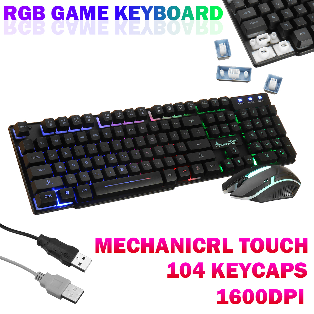 Gaming Keyboard Gaming Keyboard 104Keys Backlight Wired USB Keyboard RGB for Tablet Desktop Mechanical Touch Game Mouse Through Translucent Keyboard