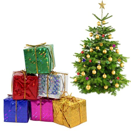 hurrise gift boxes assorted colors miniature 122448pcs foil christmas decoration ornaments mini gift box christmas tree decorationsmulti color - Christmas Gift Box Decorations