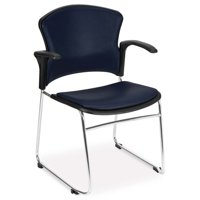 OFM Model 310-VAM-A Multi-Use Stack Chair with Arms, Anti-Microbial/Anti-Bacterial Vinyl Seat and Back, Navy