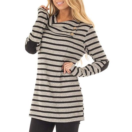 Women's Long Sleeve Striped Button Cowl Neck Tunic Sweatshirts Tops