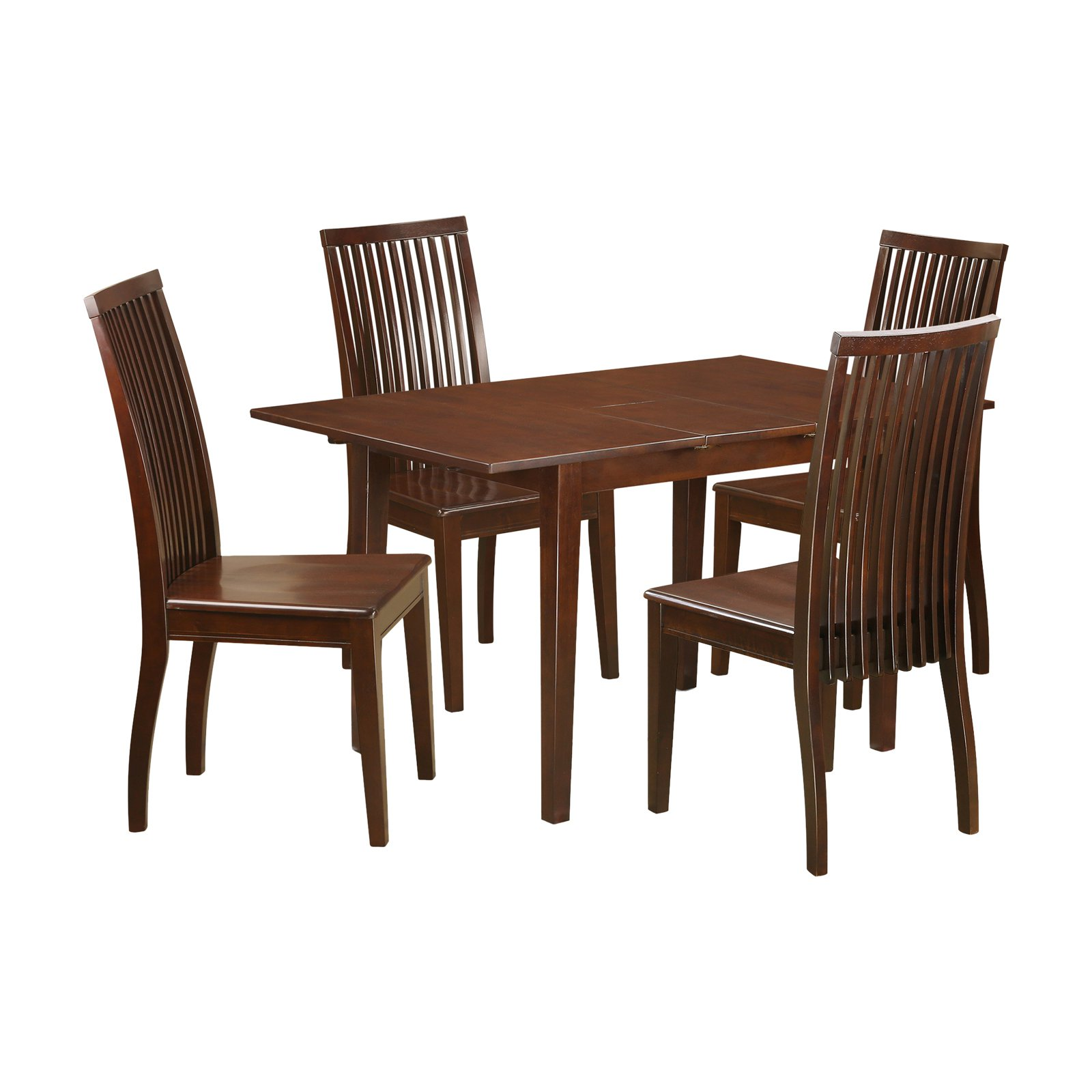 East West Furniture 5 Piece Norfolk Dining Table Set with Wood Seat