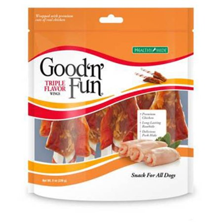 Good'n'Fun Triple Flavor Rawhide Wings Chews for Dogs, 8