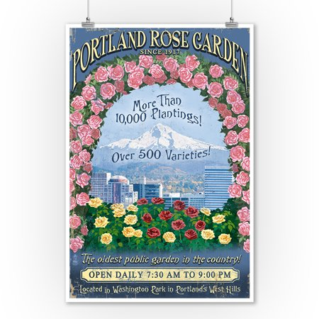 - Portland, Oregon - Rose Garden Vintage Sign - Lantern Press Artwork (9x12 Art Print, Wall Decor Travel Poster)