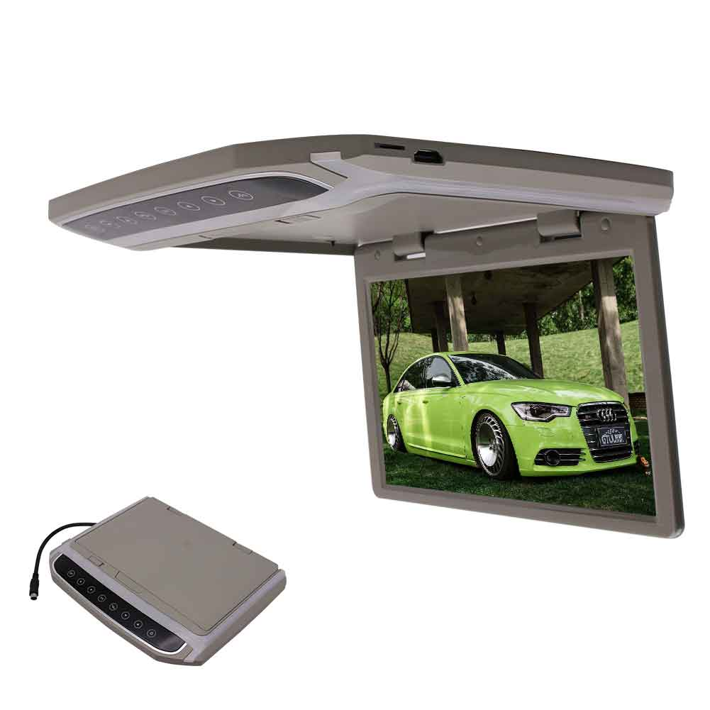 EinCar Grey 10.2''LCD TFT Screen Overhead Video Car Roof Flip Down Monitor with HD Widescreen SD FM Transmitter HDMI Input + Wireless Remote Control(Black / Grey optional)