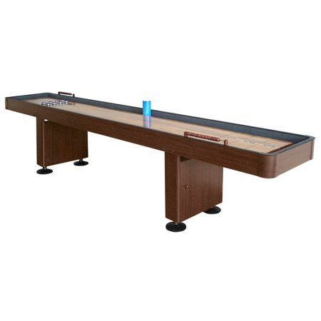 Hathaway Challenger 9-Ft Shuffleboard Table w Walnut Finish, Hardwood Playfield, Storage Cabinets