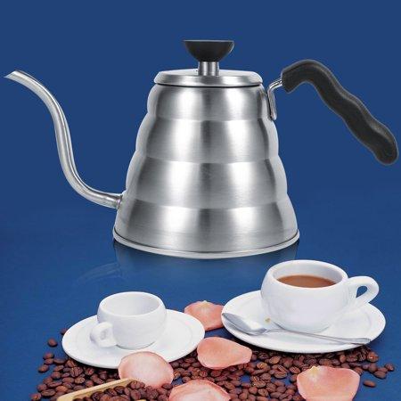 Coffee Pot,Ymiko 1x 304 Stainless Steel Gooseneck Tea Pot Manual Coffee Drip Maker Infusion 1L Whistling Kettle,Coffee Drip Pot - Manual Drip Coffee Maker